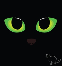 cat eye in green color with black cat vector image