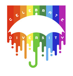 celebrate diversity lettering with open umbrella vector image