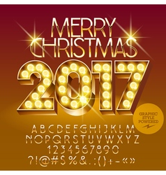 Chic light up Merry Christmas 2017 greeting card vector