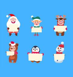 christmas characters santa claus elf snowman vector image