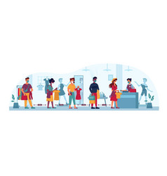 clothing store queue people masks social distance vector image