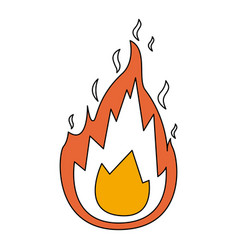 Color sections silhouette of flame icon with thick vector