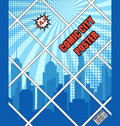 comic city blue poster vector image