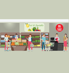 Customer and cashier in supermarket vector