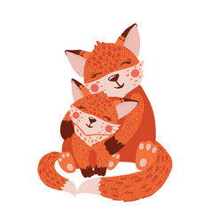 cute hand drawn happy fox family on white vector image