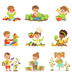 Cute little children playing gathering and vector
