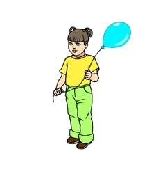 Cute little girl with balloon vector image
