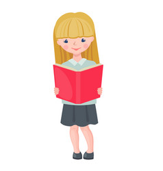 cute school girl character reading book vector image