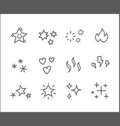 different doodle style elements editable stroke vector image