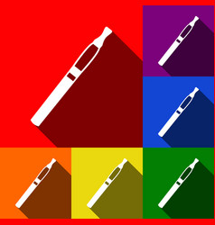 E-cigarette sign set of icons with flat vector