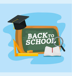 education blackboard with graduate cap and vector image