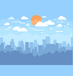 Flat cityscape with blue sky white clouds and sun vector
