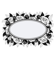 frame for congratulation with roses vector image