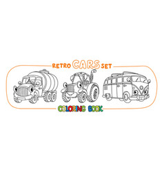 Funny small retro cars with eyes coloring book set vector