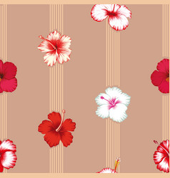 geometric lines with hibiscus flowers seamless vector image
