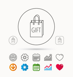 Gift shopping bag icon present handbag sign vector
