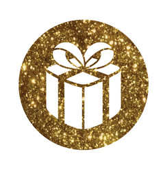 Glitter golden holiday gift box icon vector