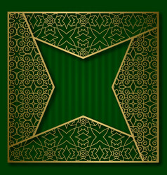 golden cover frame in four pointed star form vector image