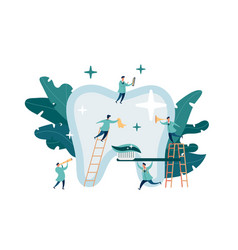 group small dentists caring for large tooth vector image