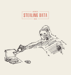 hacker steals data computer cybercrime draw vector image