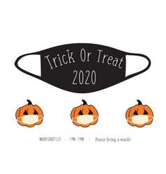 halloween 2020 coronavirus trick or treat party vector image