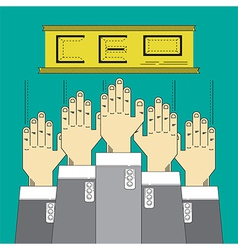 Hands up catch business position vector
