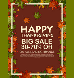 happy thanksgiving background with maple leaves vector image
