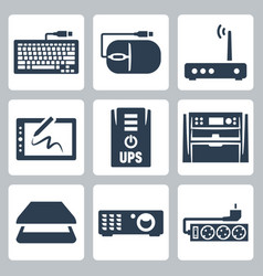 Hardware icons set keyboard computer mouse modem vector