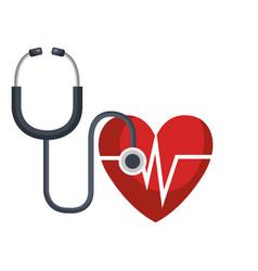 Heart cardio with stethoscope vector