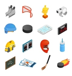 Hockey isometric 3d icons set vector image