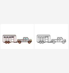 horse trailer coloring book for kid trailer vector image