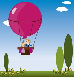 Hot air balloon with children vector