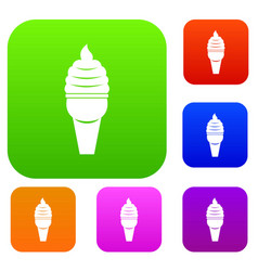 ice cream in waffle cone set color collection vector image
