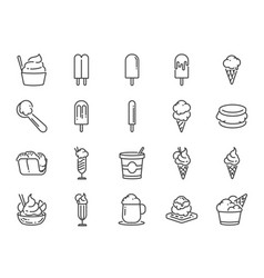 ice cream line icon set vector image