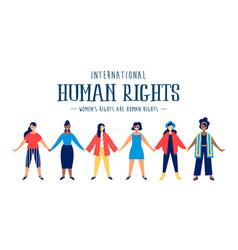 International human rights card diverse women vector