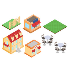 isometric buildings and outdoor design elements vector image