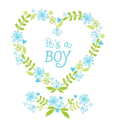 its a baby boy floral heart vector image