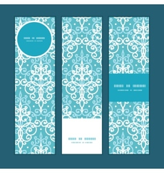 Light blue swirls damask vertical banners vector