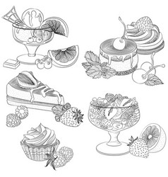 line art various fruit desserts vector image