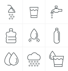 Line Icons Style Water related Icons Set Design vector image