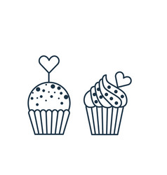 love muffin icon in line art style vector image