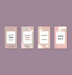 Love theme set instagram stories templates vector