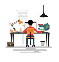 Man working with pc at his work desk vector