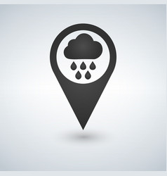 map pointer with rain and cloud icon vector image