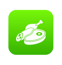 meat food icon green vector image