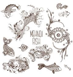 mehendi fish pattern vector image