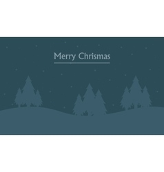 Merry christmas landscape at night of silhouettes vector
