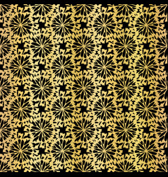 Metallic black on gold floral grid pattern vector