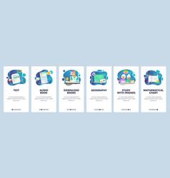 Mobile app onboarding screens school education vector