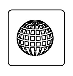 Monochrome contour square with globe earth icon vector